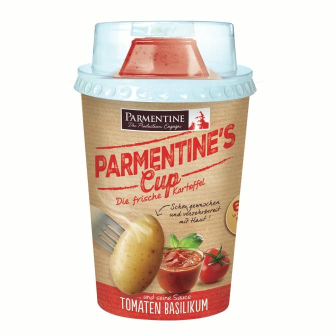 Parmentine´s Cup – Parmentine, Francia. Recipienti da 250 grammi di patate pronte per la cottura a micro-onde. Ne esistono in due varianti: al sugo pomodoro-basilico oppure al formaggio bianco con erba cipollina.