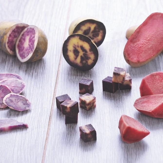 WOW! Colourful Perupas® – HZPC Holland, Paesi Bassi. Nuovi assortimenti di patate create da qualità provenienti dalle Ande. Sono diversi per composizione , colore e gusto.