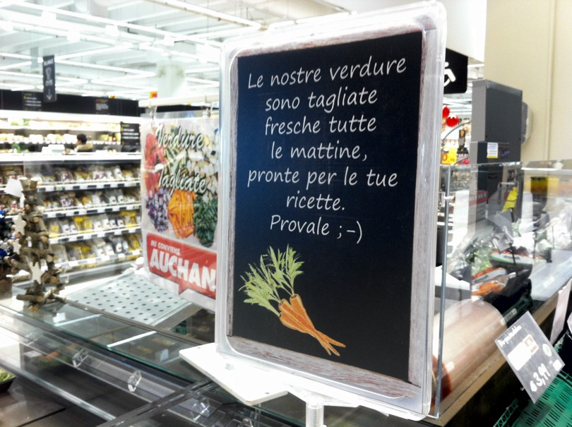 Auchan Cesano Boscone (MI) - area verdura tagliata e porzionata